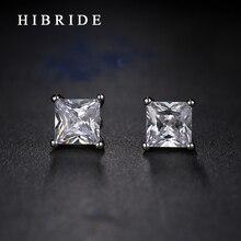 HIBRIDE модный квадратный кубический цирконий мужские серьги-гвоздики новейшие ювелирные изделия Белое золото цветная серьга вечерние подарки E-78