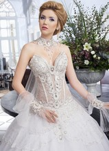 Lebanese Style Wedding Gown High Neck Heavy Crystal Beaded Appliqued Bride Dress See Through Bridal Gown With Big Pearls MF642