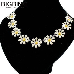 R168 BIGBING fashion jewelry fashion silver yellow white flower short necklace fashion necklace women nacklace fashion jewelry(China)