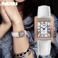 New Women Watches Luxury Brand SKMEI Genuine Leather Square Dress Wrist Watches Fashion Ladies Casual Quartz