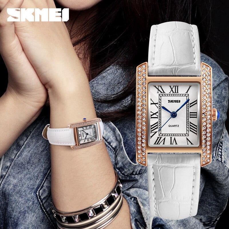 New Women Watches Luxury Brand SKMEI Genuine Leather Square