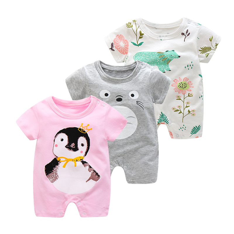цена на Summer New Born Baby Jumpsuit Infant Crawling Short Sleeve Cotton Rompers Baby Pajamas Cartoon Animal Clothes For Boy And Girls