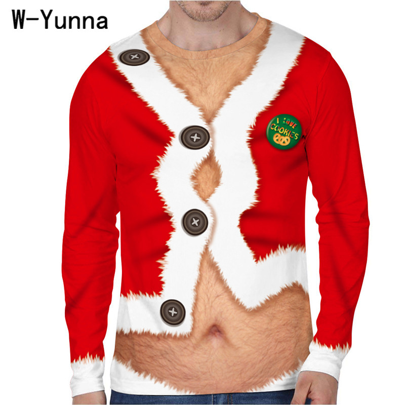 W-Yunna New Funny Christmas Men's Tshirt Santa Claus/Pizza/Suit/Work Clothes Print Full Sleeves O-neck T Shirt Men 9 designs