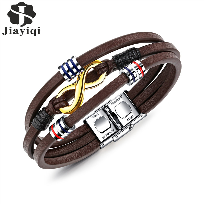 Jiayiqi New Infinity Bracelet Stainless Steel Brown Color Leather Bracelet for Men Jewelry Braid Chain Beads Accessories 21cm vintage alloy braid bracelet