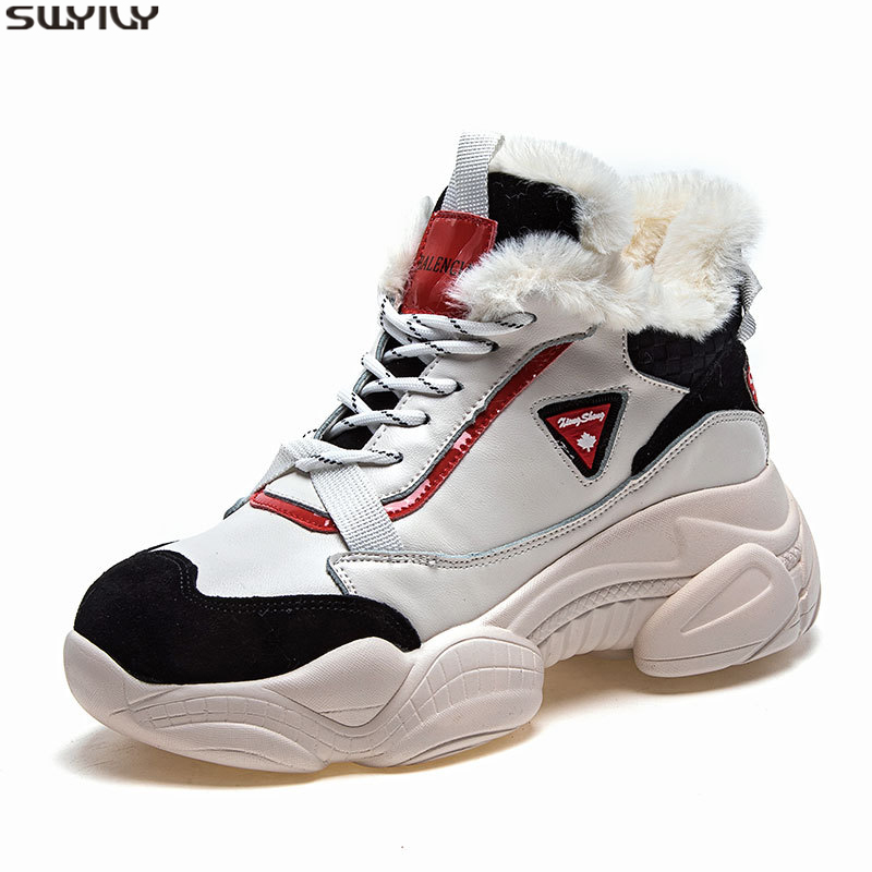 SWYIVY Warm White Sneakers Women Casual Shoes Velvet Fur Female Snow Shoes Winter 2019 New Women's Sneakers Platform Ladies Shoe