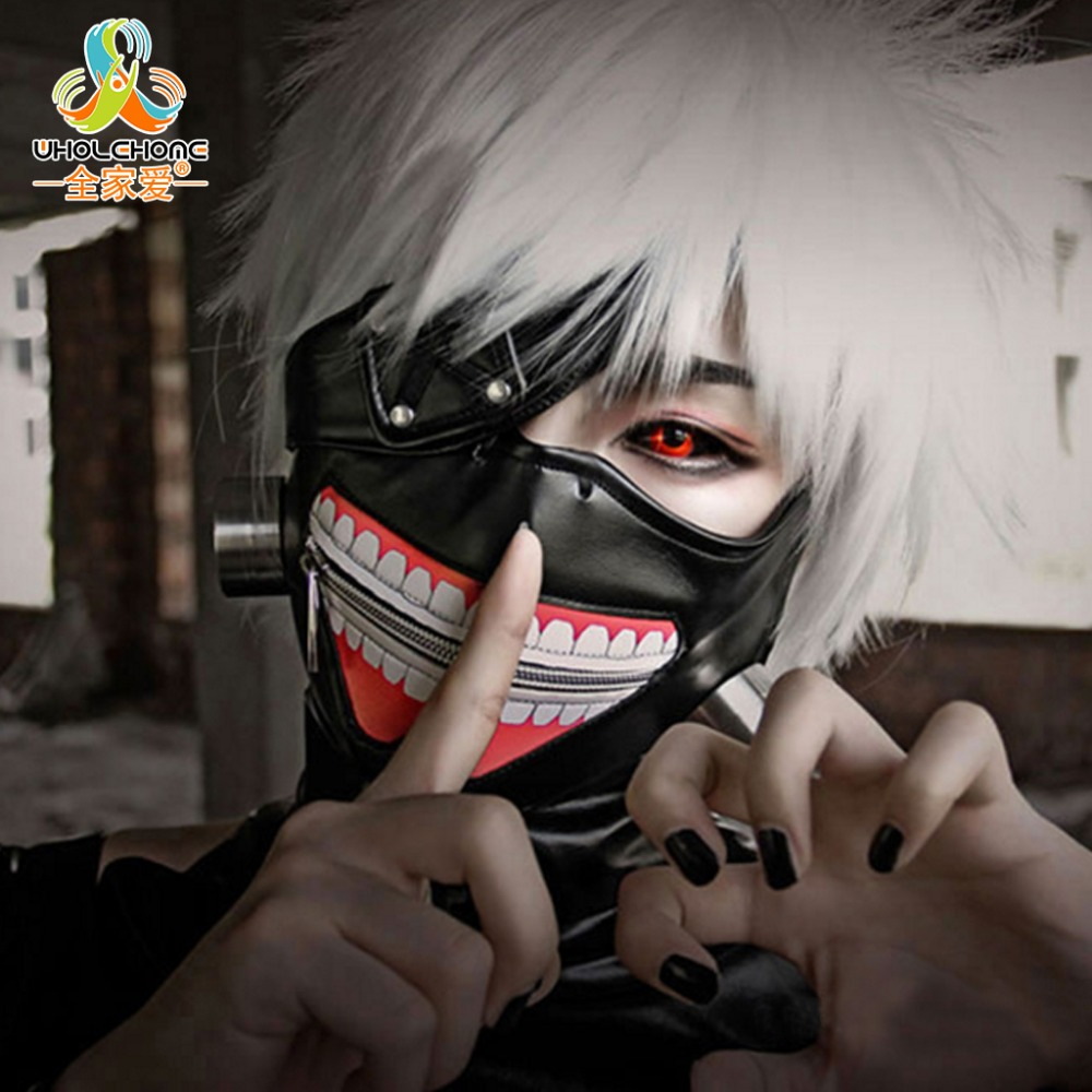 Høy kvalitet Clearance Tokyo Ghoul 2 Kaneki Ken Mask Justerbare glidelåsmasker PU Leather Cool Mask Blinder Anime Cosplay