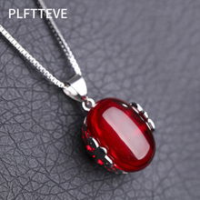 Red Green Stone Necklaces & Pendants For Women Silver Color Long Chain Female Pendant Necklace Fashion Jewelry Collier Femme цена