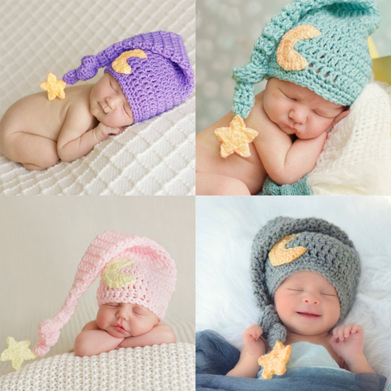 New 1Pc Baby Handmade Beanies Hat Crochet Knitted Costume Newborn Photography Props Cap Baby Gift