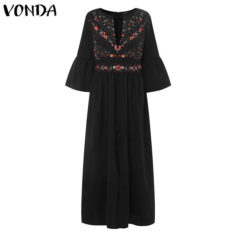 Bohemian Women Vintage Print Dress 19 VONDA Sexy V Neck Ruffle Sleeve Split Maxi Long Dresses Plus Size Casual Loose Vestidos 12