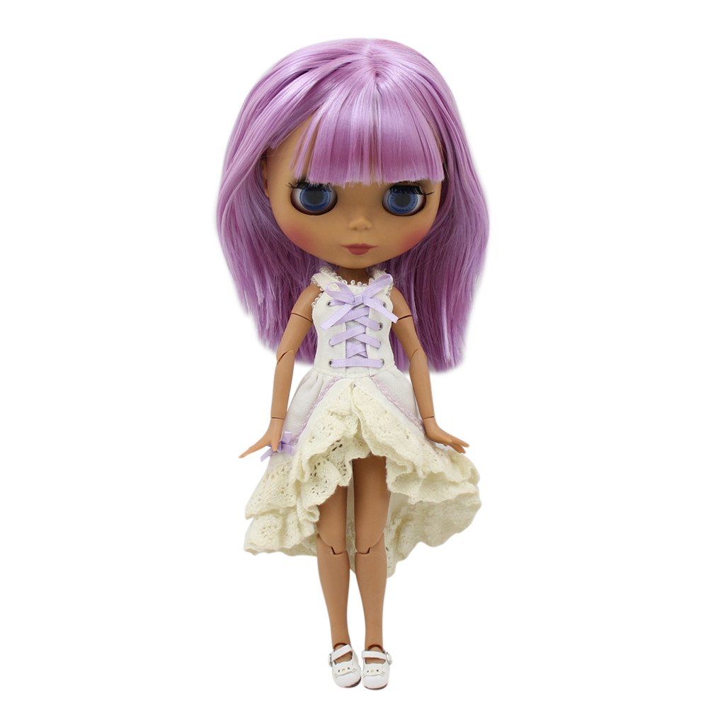 1 6 ICY Nude Factory Blyth doll Black Matte face Joint body Purple hair No BL2137