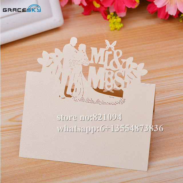 50pcs Free Shipping New Mr Mrs Husband And Wife Laser Cut Paper Name Place Wedding Invitation