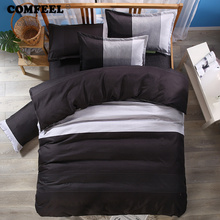 hot deal buy comfeel black classic brief bedding set solid color cotton duvet cover & pillowcases home textile bed qulit sets luxury bedding