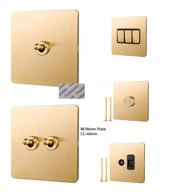 Interruptor de palanca de pared de Panel de latón cepillado macizo, perilla de latón, ventilador de teléfono Retro Vintage de 86MM, tornillo de TV por Internet