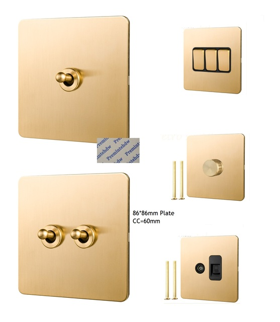 Solid Brushed Brass Panel Wall Toggle Switch Brass Knob 86MM Retro Vintage Phone Fan Internet TV SCREW