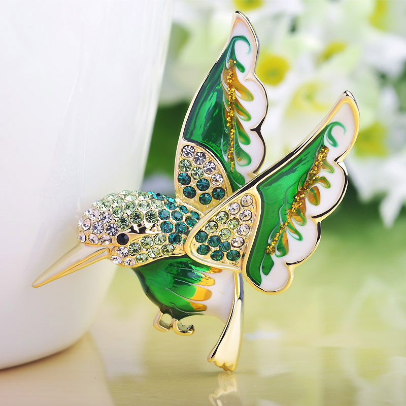 Very Cute Green Enamel Birds Brooches Women Party Gifts Perfect Crystal Pin Brooch Hijab Accessories Women's scarf Pins Bijoux brooch pins pink flamingo brooches for women love cute gift enamel lapel pin broche broches 2018 fashion jewelry accessories