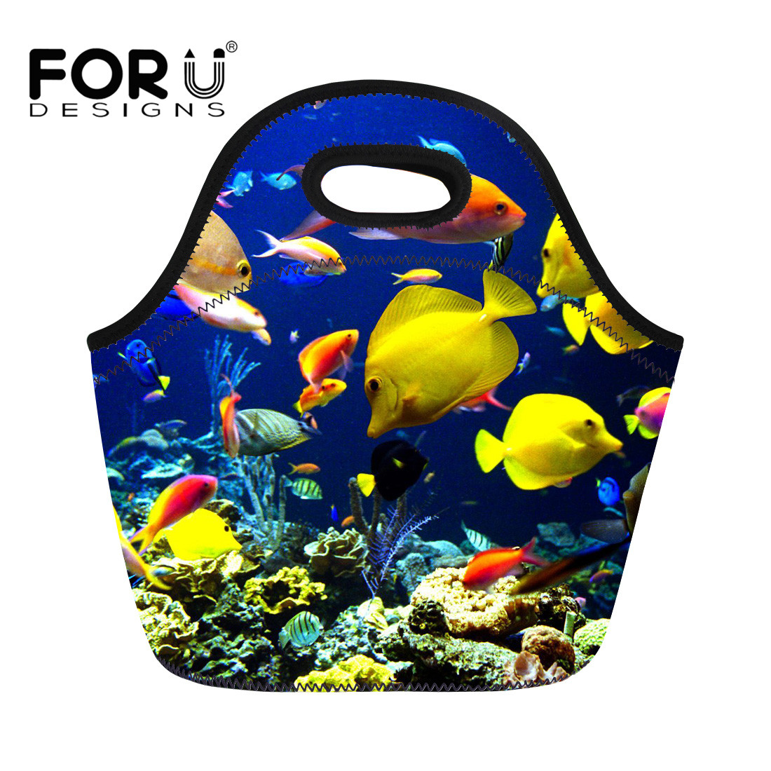 FORUDESIGNS Lunch Bag for Women Kids Blue Ocean Tropical Fish Printing Neoprene Thermal Insulated Picnic Cooler Bolsa Termica