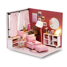 купить SLPF Doll House Furniture Diy Miniature 3D Wooden  Dollhouse Building Model Toys For Children Christmas Birthday Gifts Girl J16 по цене 425.96 рублей