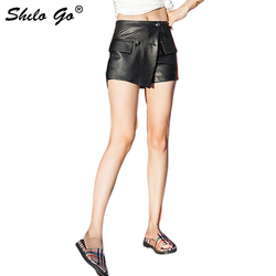 Sexy Leather Shorts Womens Double Breasted High Waist Sheepskin Genuine Leather Asymmetry Mini Shorts Casual Female Hot Shorts