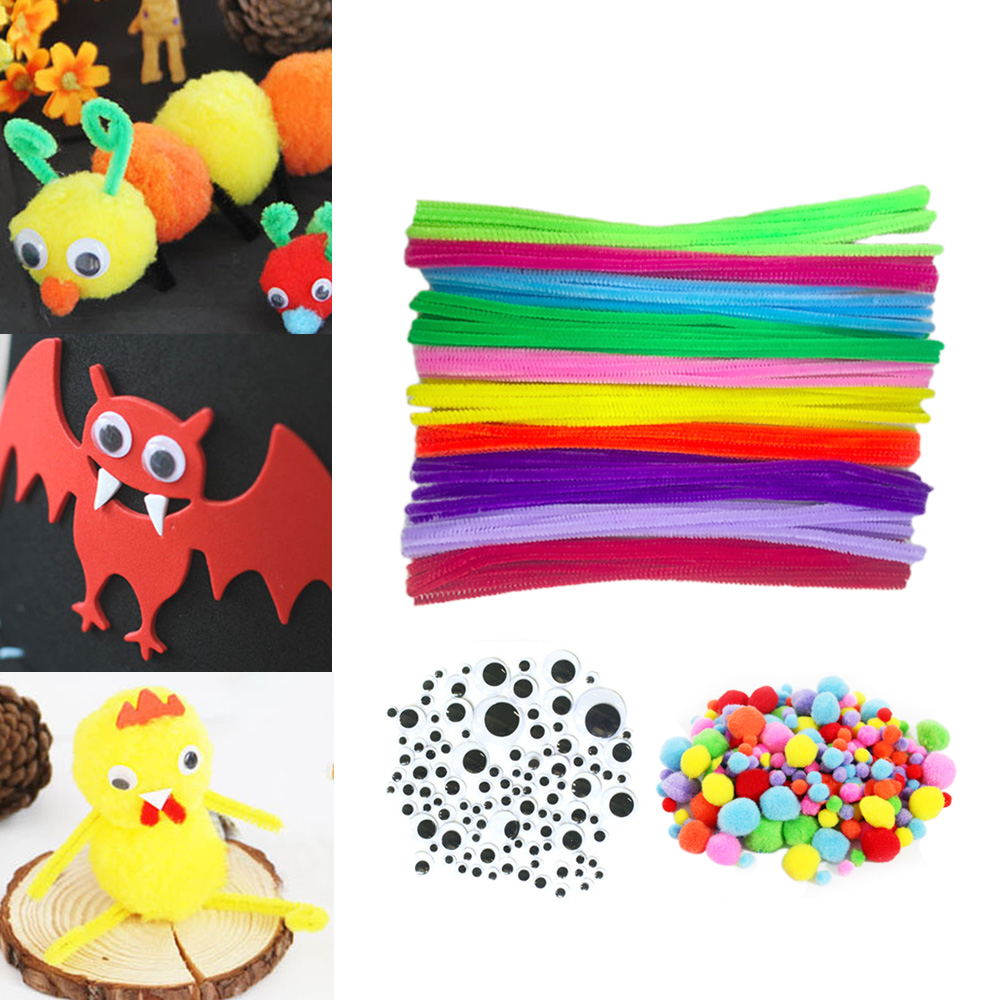 500PCS Kids DIY Craft Supplies Kit Including 100 PCS 10 Colors Chenille Stems 150PCS 3 Size Wiggle Googly Eyes 250PCS Pom Poms