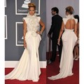 2015 Rihanna Grammys Celebrity Dresses Long Mermaid High Collar Feathers Appliques Backless Paillettes Red Carpet Evening Gowns