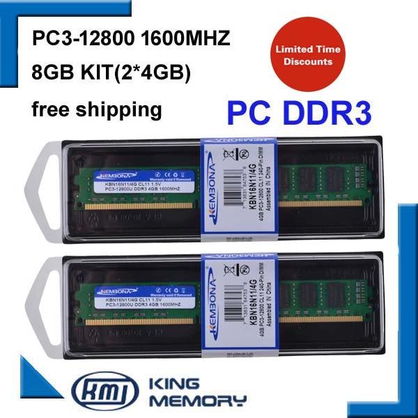 KEMBONA meilleure vente DE BUREAU DDR3 8 gb 1600 Mhz 8g (Kit de 2, 2X ddr3 4 GB) PC3-12800 Tout Nouveau travail pour tous les ordinateurs de bureau mothebroard