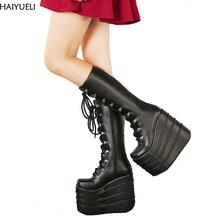HAIYUELI Big Size 34-43 Womens Fashion Punk Style White/Black Cosplay Boots Square Toe Wedges Platform Boots Leather Long Boots
