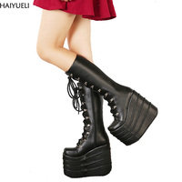 HAIYUELI Big Size 34 43 Womens Fashion Punk Style White/Black Cosplay Boots Square Toe Wedges Platform Boots Leather Long Boots