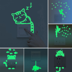 Cartoon Green-Light Switch Stickers Kids Baby Dark Glow Fairy Star Candle Stickers For Children Funny Stickers Home Decor