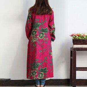Image 4 - LZJN 2020 الربيع المرأة خندق معطف الأزهار طويلة القطن الكتان منفضة معطف Vintage سترة واقية الصينية معطف