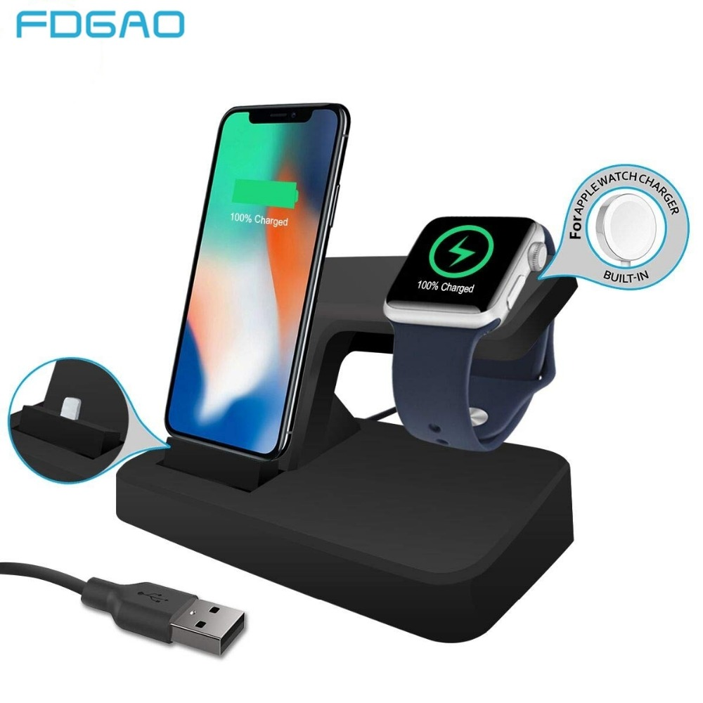 FDGAO Charging Dock Wireless for Apple Watch 4 3 Charger Holder Fast USB Stand For iPhone XR XS Max X 8 7 6s 6 Plus iPad AirpodsFDGAO Charging Dock Wireless for Apple Watch 4 3 Charger Holder Fast USB Stand For iPhone XR XS Max X 8 7 6s 6 Plus iPad Airpods