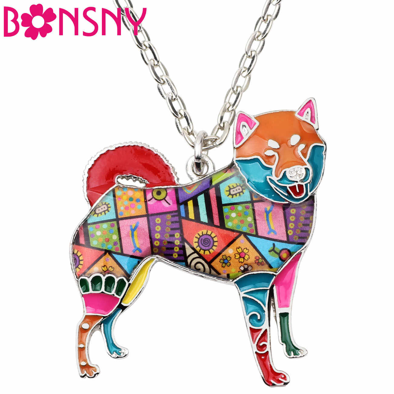 Bonsny Statement Alloy Shiba Inu Dog Necklace Pendants Enamel Collar Choker Chain New Fashion Animal Pets Jewelry For Women