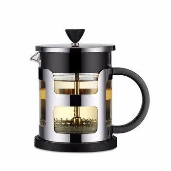 스테인레스 스틸 휴대용 프렌치 프레스 커피 포트 차 메이커 기계 moka 스트레이너 필터 여행 borosilica 유리 카페테리아