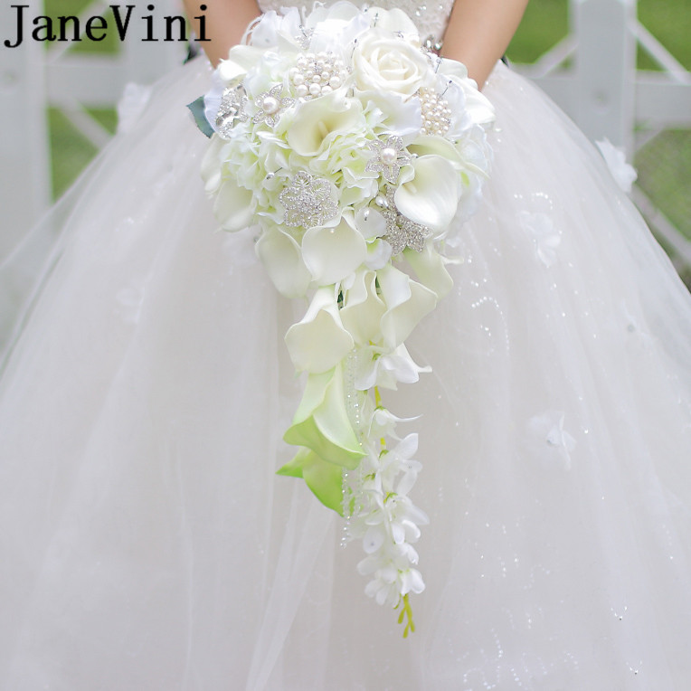 JaneVini 2019 Waterfall Wedding Flower Bouquets With Crystal White Calla Lily Pearl Beaded Artificial Bridal Bouquets Flor Novio