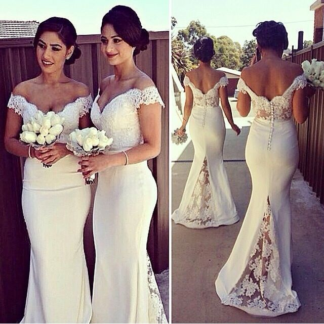 2015 White Bridesmaid Dresses Shoulder Long Mermaid Prom Gowns Lace Top Backless Wedding Party Dress Vestido De Madrinha - Weddings & Events Collection store