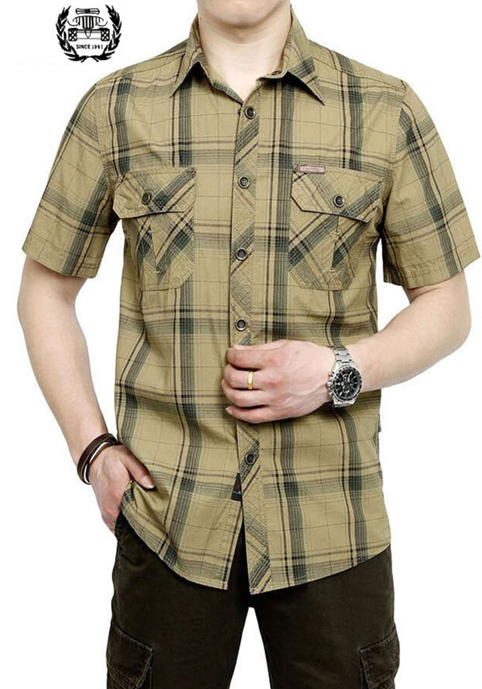 2019 M ~ 5XL 3 COLOR 2017 New Summer Plus Size Plaid HOT SELL Camisa casual de algodón para hombre Camisa de manga corta HOT Sale de marca