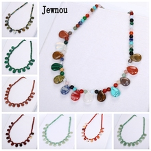 Jewnou Rainbow Necklace Woman Natural Stone Statement Gemstone Power Jewelry Crystal Colgantes Mujer Moda Mothers Day Gift Reiki