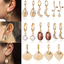 Korean Natural Shell Pendant Drop Earrings for women Bohemian Stars Summer Conch Sea Shell Metallic Color Clip  Earring Jewelry