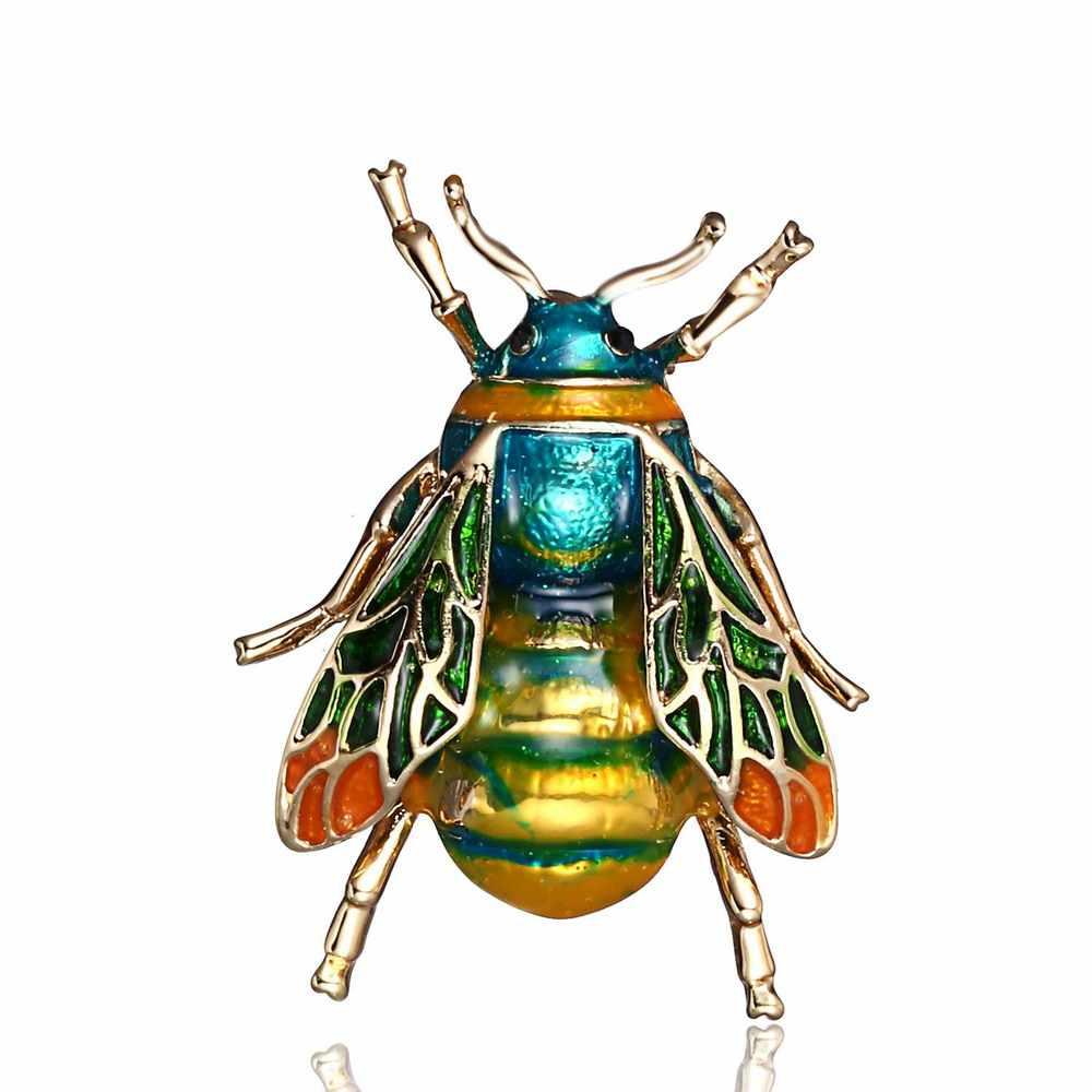 Rinhoo böcek Bumble Bee broş kadınlar çocuklar kızlar için arı takı altın renk sarı yeşil emaye broş takı bumble bee