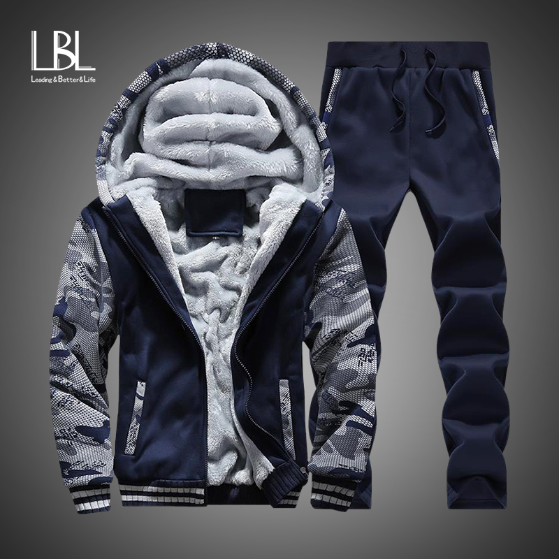 Tracksuit Men Winter Camouflage Hoodies Casual Hooded Warm Sweatshirts Male Thicken Fleece 2PC Jacket+Pant Men Moleton Masculino