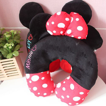 Cute Soft Plush Cartoon Anime Character Mickey/minnie Head Neck Pillow U Shape Creative Portable Confortable Car Traveling Gift