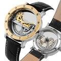 Уникальные полностью Открытые Автоматические механические часы для мужчин  Классические светящиеся механические наручные часы со скелето...