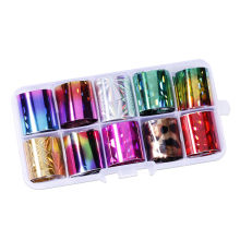 цена на 1set Transfer Foil For Nail Art Decoration 10pcs Laser Foils Sticker Foil Metal UV Gel Polish Stickers 2.5*100cm Holo Nail Foil