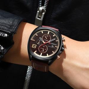 Image 3 - 男性腕時計トップブランドカレン高級レザーストラップスポーツクォーツクロノグラフ軍事腕時計メンズ時計防水レロジオmasculino