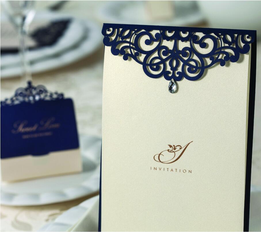 laser cut Blue Wedding party Invitation cards with rhinestone ...