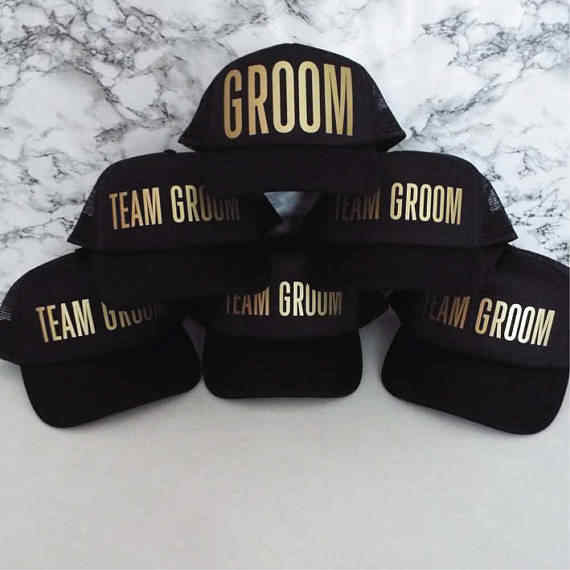 c20c675f0e5f2 PERSONALIZE TEAM GROOM wedding groomsmen Bachelorette Stag Party Mesh  Trucker Snapback trucker hats caps gifts favors