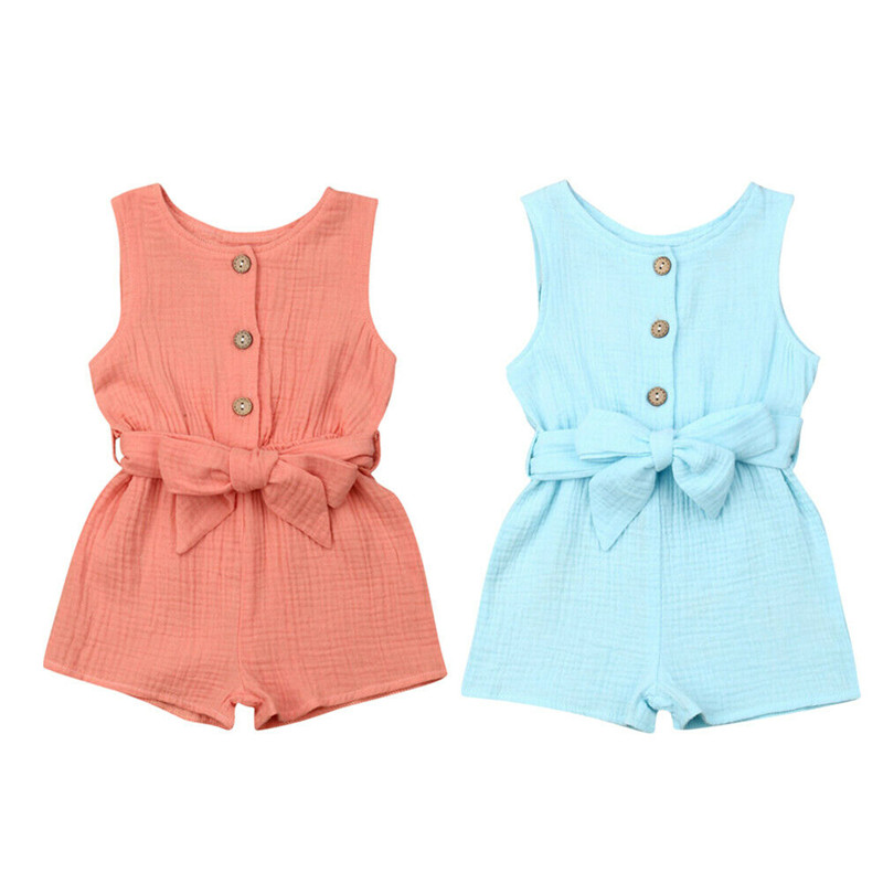 Casual Baby Girl Boy   Rompers   Sleeveless O-Neck Buttons Tank Jumpsuit Newborn Baby Unisex Cotton Linen Playsuits+Belt 0-18M
