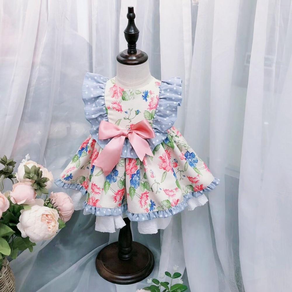 2PCS Boutique Summer Girl Flower Pompom Princess Dress with Pants Lolita Vintage Spanish Dress for Girls