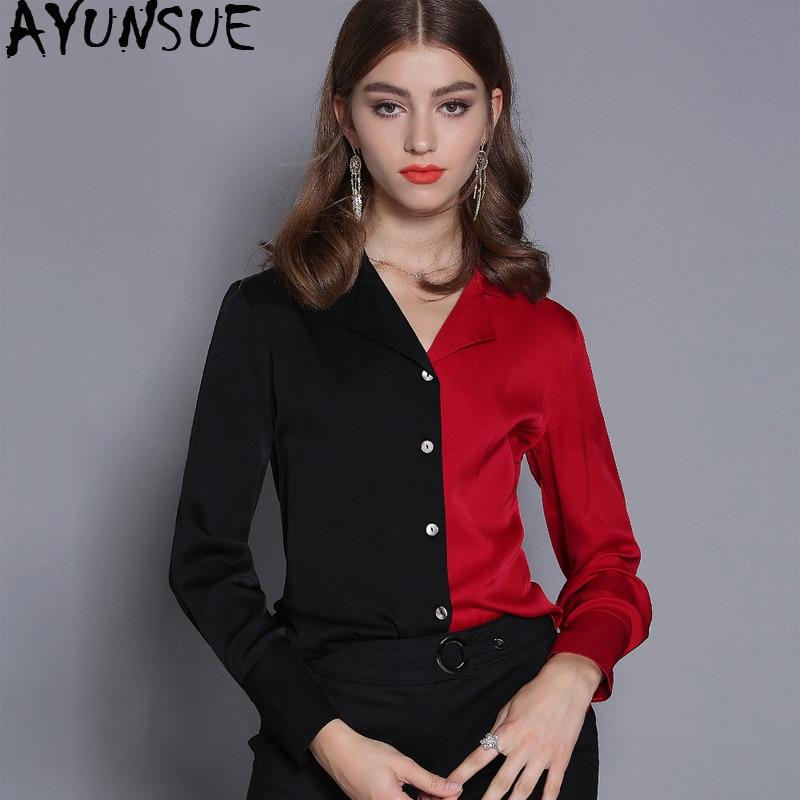 Chemisier femme printemps automne soie Blouse 2019 chemise blanche femmes hauts et chemisiers coréen Vintage rouge chemises Camisas Mujer MY2376