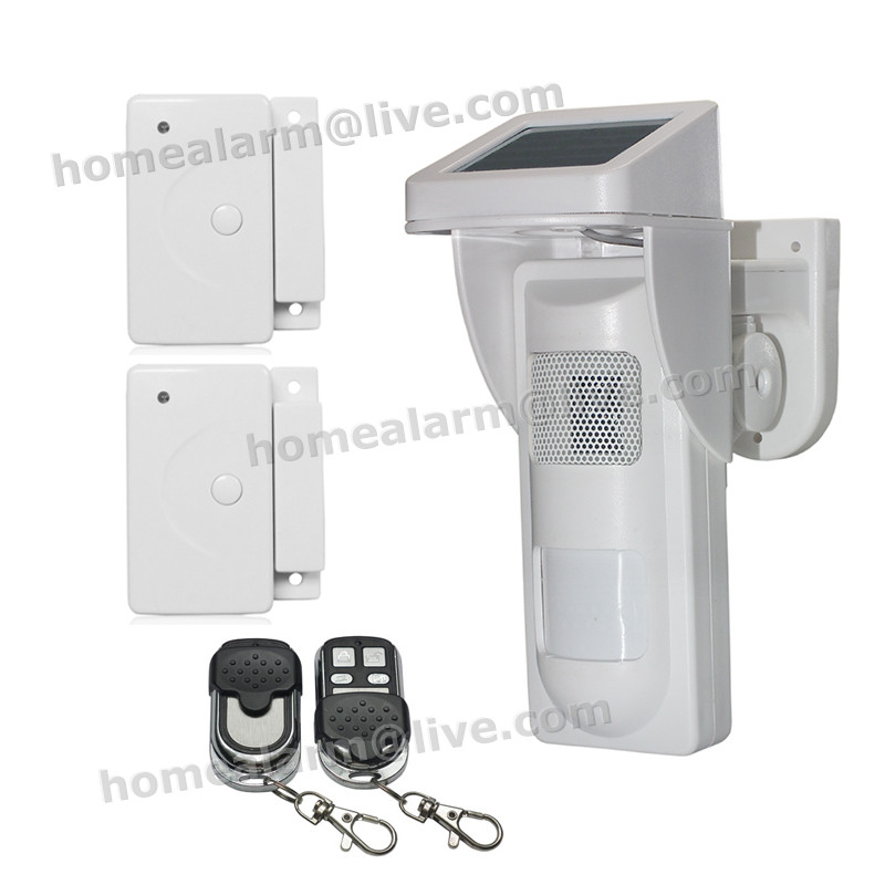 DIY Security System Outdoor Solar PIR Motion Alarm Detector Sensor w Sound&LED Light  Remind, Suit  for Villa,Farm,Port,Factory