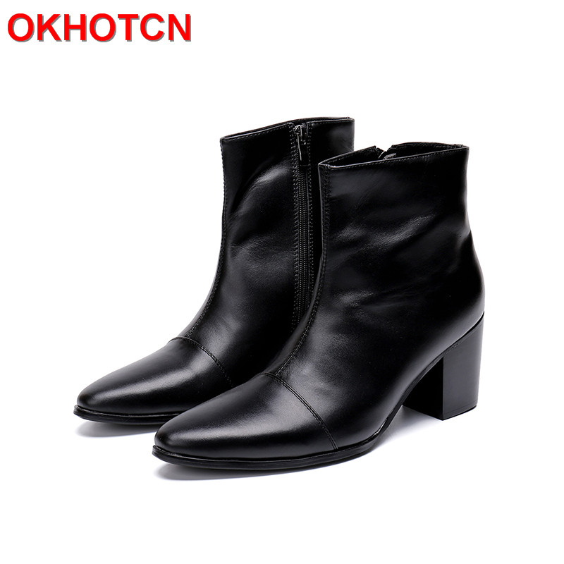 Black Mens Leather Ankle Boots Big Size 47 Zipper Mens Boots Pointed Toe Casual Mens High Heel Boots New Fashion Man Boots Shoes vasque mens boots skywalk gtx insulated 7052 black leather